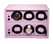Scatola Del Tempo Watch Winder - Cornice 6rt Os Lilac Leather Made In Italy