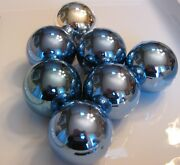 """6 Steel Blue And 1 Silver Mercury Glass Vintage Ornaments, 3"""" Dia, Shiny Brite"""