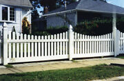 40' Of 4' High Pvc Vinyl Denville Style Scallop Traditional Dog Ear Picket Fence
