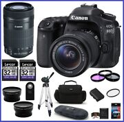 Canon Eos 80d Dslr Camera With 18-55mm And 55-250mm Stm Lenses