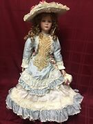 Thelma Resch Young Girl 1994 13/2000 Porcelain Doll Blue W White Lace 29