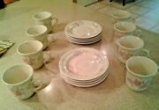 Trisa Stoneware Porcelain Coffee Tea Cups Mugs And Saucers- Service Of 8 Vintage