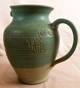 Vintage Studio Pottery Handmade Pitcher Green Tooled Large; Signed