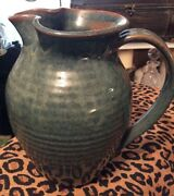 Vintage Handmade USA Pottery Red Clay Green Glazed Pitcher Signed M.Chrisco '92