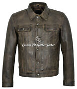 Mens Classic Dirty Brown Real Leather Jacket John Lennon The Beatles Rubber Soul
