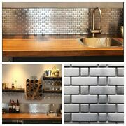 Stainless Steel Brick And Square Metal Mosaic Tile For Kitchen Backsplash Wall