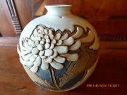 BEAUTIFUL HAND THROWN STUDIO POTTERY VASE WITH FINELY DETAILED MUM IN RELEIF