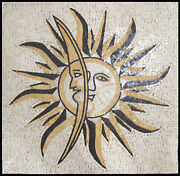 Sun And Moon Central Wall Model Art Tile 50x50 Marble Mosaic Geo2171