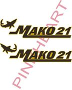 Mako Blk Gold 21 Boat Decal Stickers Graphic Logo Decal Flats Boats Mako With