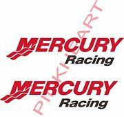 2- Mercury Racing Large Truck Trailer Decal Red And White Usa Stickers Decals