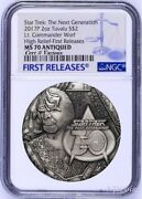 2017 Star Trek The Next Generation Commander Worf 2oz 2 Silver Coin Ngc Ms70 Fr
