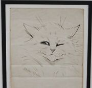 Framed Stunning Louis Wain Signed Original Pen And Ink Drawing Of A Cat