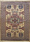 Rugstc 4x6 Caucasian Design White Area Rug Hand-knottedgeometric With Wool