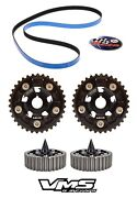 Black Vms Cam Gears + Gates Racing Timing Belt + Spiked Bolts Honda Prelude H22