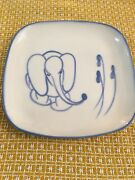 Rare Vintage Winfield California Pottery Blue Elephant  Plate 9 3/4