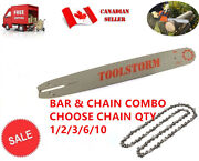 18 Chainsaw Bar And Chain Combo 3/8 .058 68 For Dolma Husqvarna Jonsered Poulan