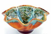 """Drip Glaze Fluted Bowl Studio Art Pottery Turquoise Brown Signed 10"""" Stoneware"""