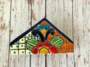 Talavera Napkin Holder - Authentic Hand Painted Mexican Pottery - Multicolor