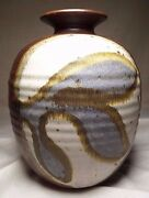 """Super Cool Large Mid-Century Modern Hand Made & Decorated Vase 7 5/8"""" Tall"""
