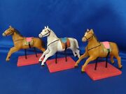 Antique Toy Horses Golden Saddle C1900 Carousel Horse For Doll Riding School