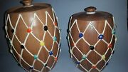 Vintage Mid Century Studio Pottery Set of 2 Lidded Jar Containers Signed