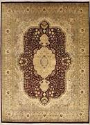 Rugstc 9x12 Senneh Pak Persian Red Area Rug Hand-knottedfloral With Wool Pile