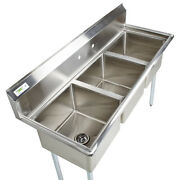 60 Stainless Steel 3 Compartment Commercial Sink Restaurant Three No Drainboard