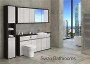 Hacienda / Light Grey Gloss Bathroom Fitted Furniture With Wall Units 2250mm