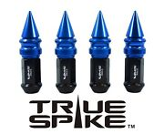 24 True Spike 101mm 14x1.5 Steel Lug Nuts Blue Extended Fat Ribbed Spikes