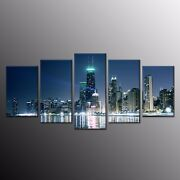 Modern Canvas Wall Art Decor Busy City Scene Canvas Painting Print Picture 5pcs