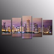 Hd Canvas Art Prints City Night Wall Art Canvas Painting For Home Decor 5pcs
