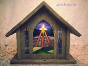 Barn Board And Stained Glass Mantle Church Lamp / Silent Night