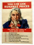 Vintage Wwii Poster W/ Uncle Sam -- You Can Lick Runaway Prices