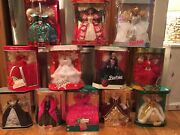 Set Of 10 Holiday Barbies New Mattel Special Edition