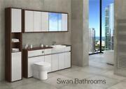 T. Walnut / Light Grey Gloss Bathroom Fitted Furniture With Wall Units 2250mm