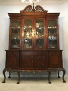 Antique Mahogany Chippendale China Hutch Cabinet Buffet Curio