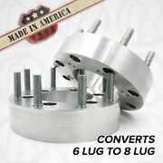 X2 Usa | Dodge 6 To 8 Lug Wheel Adapters / 2 Spacers | Truck Suv 6x4.5 To 8x6.5