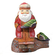 Unique Russian Hand Carved And Painted Wooden Santa/grandfather Frost With Birds