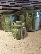 Studio Art Pottery Glazed Stoneware Kitchen Lidded Container Canister Set Signed