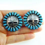 Kachina Old Pawn Turquoise Natural Large Earrings Navajo Sterling Silver Big 925
