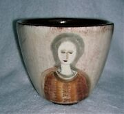 POLIA PILLIN POT WITH LADIES AND ANIMALS AMERICAN ART POTTERY BOWL IS NOT MINT