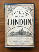 Philips' Map Of London, By George Philip - C1880 -scarce Antique Hardcover Book