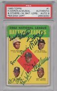 Aaron Musial Robinson ++ Psa/dna 1963 Topps Card 1 Signed By All 5 Leaders Rare