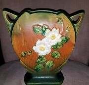 VINTAGE ROSEVILLE POTTERY WHITE ROSE PILLOW VASE # 984-8