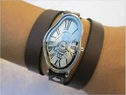 Salvador Dali Melting Time Watch Fluid Wavy Softwatch Womenand039s Leather Wrap Watch