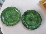 "Vietri Italy Foglia Fresca Large Round Green Serving Platter  12 1/2"" Across Top"