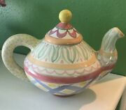 Mackenzie Childs Vintage Aalsmeer Ceramic Teapot Pottery Discontinued