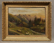 19th Century Landscape Oil Painting With House And Figures
