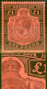 Bermuda 1918 Andpound1 Purple And Black-red Sg55bvar Broken Crown And Scroll Repaired Rare
