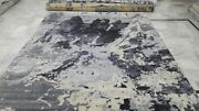 Indian 9x12 270x365 Hand Knotted Indo Tibet Nepalese Wool Bamboo Silk Carpet Rug